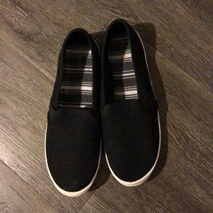 Simple black slide on shoes